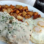 Biscuits and Gravy with 2 Eggs