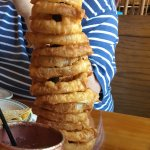Foot of onion rings and a Moscow mule! Delicious!