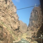 Vew from below the Royal Gorge Bridge, 1,000 feet above us.