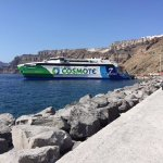 Our boat at the ferry harbor on Santorini