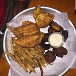 Fish and chips. My son ate it, but it did lack a little flavor. Was good and hot tho...