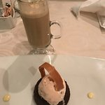 most amazing chocolate cake and latte