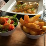 chips and salad with the plaice