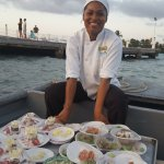 One of the talented chefs serving food for a romantic meal on the island xxx
