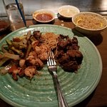 steak, shrimp, veggies, noodles and fried rice, that ginger sauce is good!