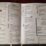 Tarifs des plats - Service en chambre