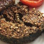 Very burnt haggis for breakfast.