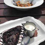 Belgian waffles with toffee sauce and hot chocolate fudge brownie :)