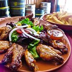 Terrific wings and a suburb cheese burger!