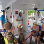 "Captain Michael giving guests a pre-departure safety briefing aboard ""Pico""."