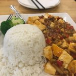 A delicious portion of Ma Po Tofu (with meat). Yummy.