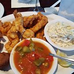 Fish and shrimp - with tasty okra and tomatoes