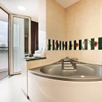 Pamper yourself in this spacious bathroom