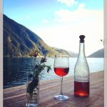 Fresh glass of rosé with a stunning view