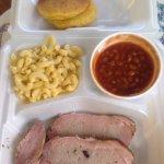 smoked pork tenderloin/pork chop plate with mac n cheese, bbq beans, and corn cakes