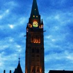 Peace Tower lit up at dusk
