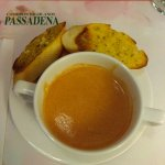 This is cream of tomato soup, love the garlic bread, it's very savory!