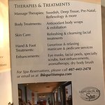 I grabbed this flyer from their resort in July 2017- they advertise a spa on the website too! Th