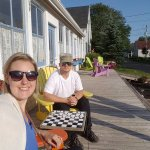 We enjoyed the deck and even played a round of checkers.