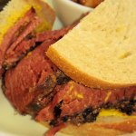 Smoked meat sandwich. The meat is prepared at their shop.