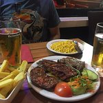 Mixed Grill, French Fries, Corn, Heineken
