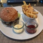 The 45 CHF Hilton Burger at the hotel restaurant.