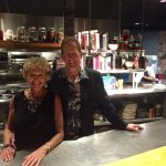 My hubby and me in their fabulous open kitchen