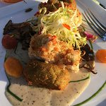 Lobster crusted grouper