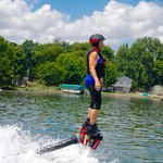 A photo of my mom flyboarding
