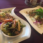 Salmon Aux Agrumes and Lamb curry, delicious meals.