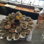 Selection of oysters and clams on 10 July with a rose wine.