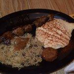 Lamb Kafta with hummus and majada (rice with lentils)