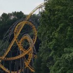 The classic Loch Ness Monster coaster. Seen here are the infamous interlocking loops.