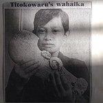 Milton Whareaitu, Riverlea School, South Taranaki, holds Titokowaru's whalebone wahaika.