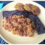 Churrasco with Mamposteao Rice and Tostones