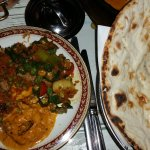 Butter chicken, okra and tomato, paneer and peas, naan