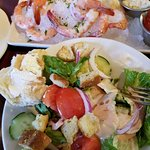 salad and iced shrimp at Pappadeaux