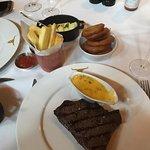 Perfectly looked medium-rare steak