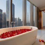Presidential Suite Bathroom with the view of Burj Khalifa