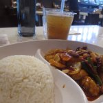 Kungpao Chicken Rice and Iced Logan Drink