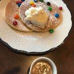 Pancake Pantry M&M Pancakes w/ Peanut Butter Syrup