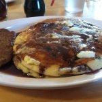 Blueberry Pancakes with Sausage Patties.