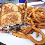 Black and bleu pastrami sandwich with fries
