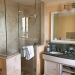 This was the bathroom; note the rectangle in the mirror for the television!