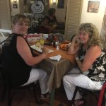 Lovely customers today enjoying a homemade steak pie and scampi with chips and salad.