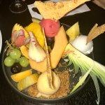 Fruit and sorbet for dessert