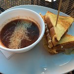 Gourmet grilled cheese and tomato soup
