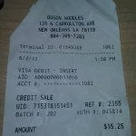 Receipt of visit where I saw roaches