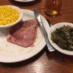 country ham, turnip greens, and corn.