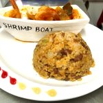 Shrimps with our delicious mamposteado rice.